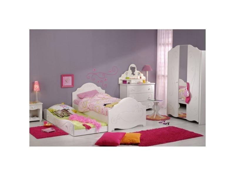 Chambre enfant complète (90*190) blanc - andrea - l 195 x l 99 x h ...
