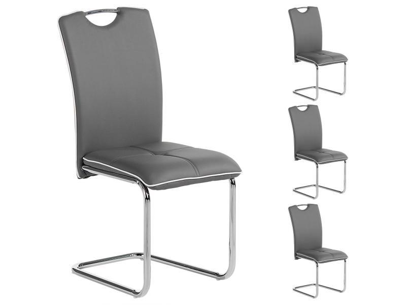 Lot de 4 chaises de salle à manger eleonora piètement chromé revêtement synthétique gris - Vente ...