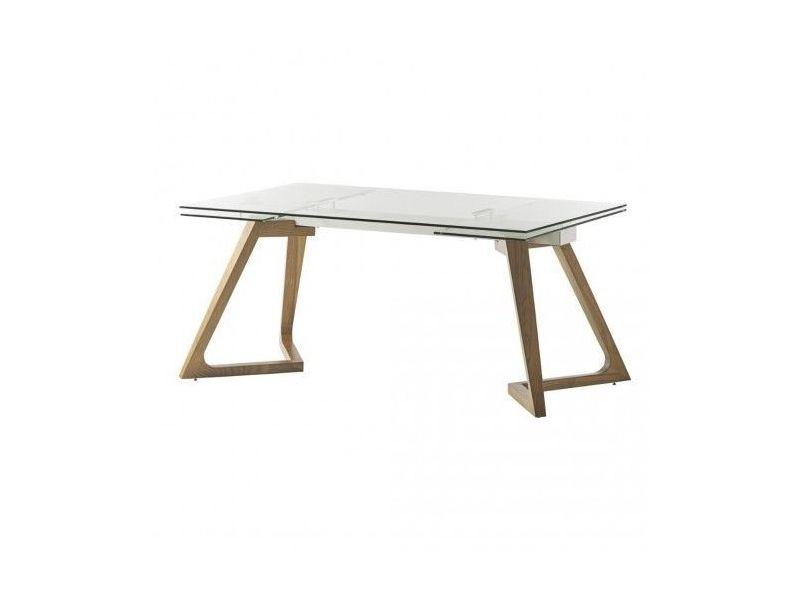 Table à rallonges verre et bois gate 160-240 cm