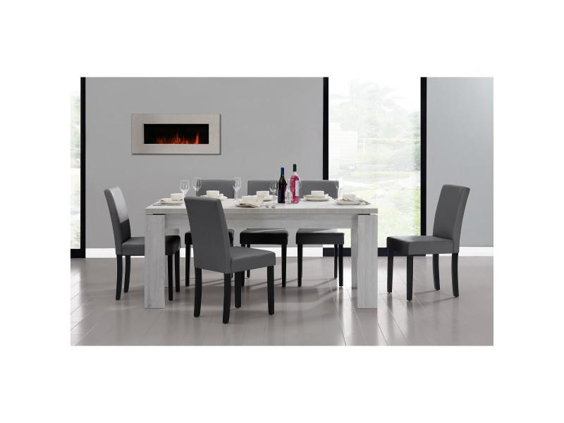 [en.casa] table et jeu de chaises 'helsinki' (blanc - 170 x 79) 6 chaises (rembourrées - gris foncé) - en pack économique