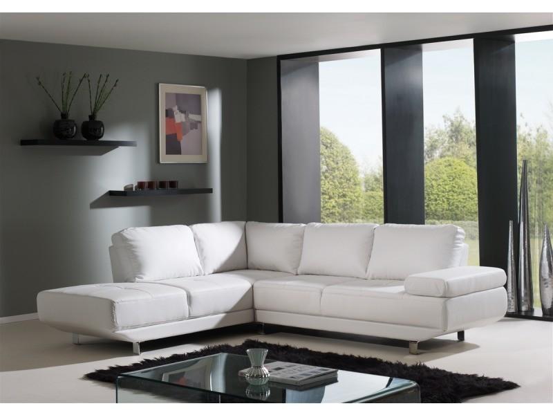 Canapé d'angle design blanc bao (gauche)-