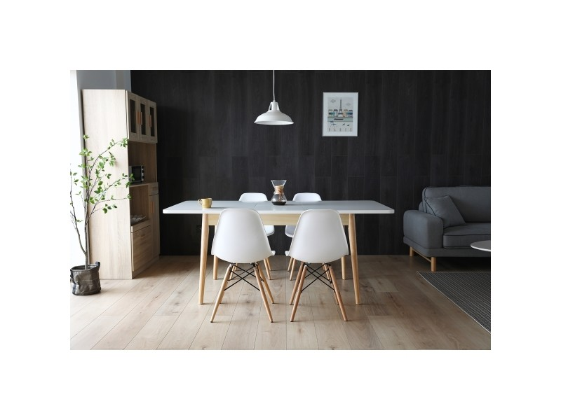Table salle à manger blanc et bois pour 4 à 8 personnes 222453 ...
