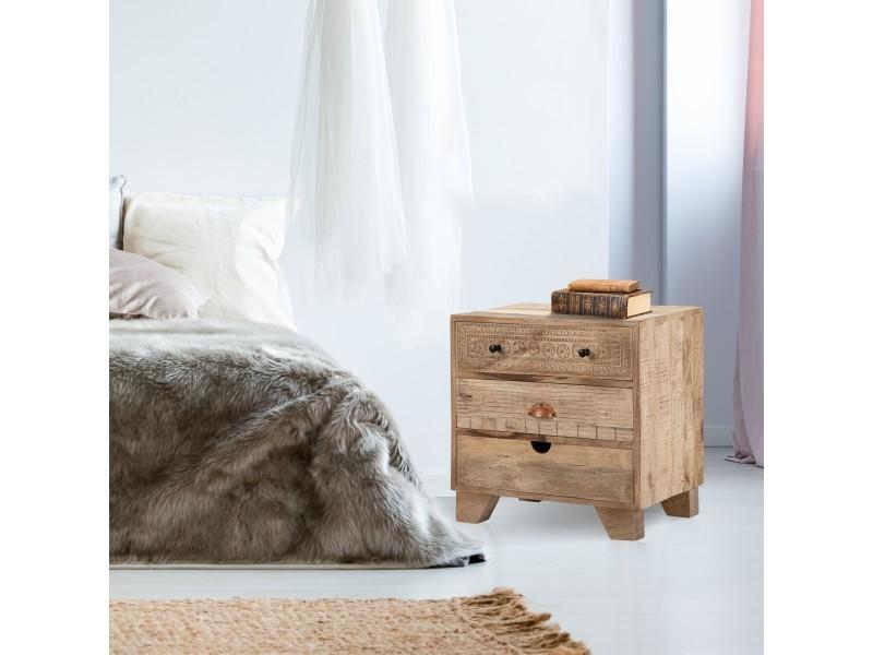 Table de chevet womo-design naturel avec 3 tiroirs, 58x60x35 cm, en bois de manguier massif et mdf 390003220