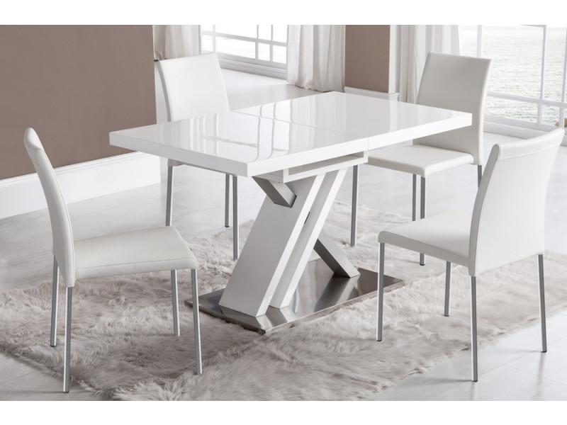 Table De Salle A Manger Extensible Blanc Laque Et Argent Design