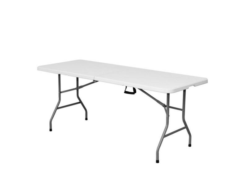 Table de jardin pliante 180cm plastique blanc - l 180 x l 70 ...