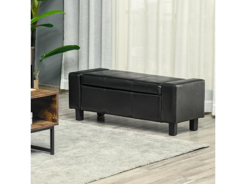 Banc Coffre De Rangement 2 En 1 Simili Cuir Capitonné 106l X 40l X
