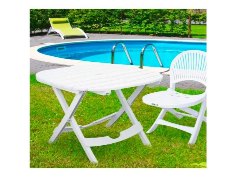 Table de jardin blanche - pliable - lot avec 2 chaises - lot : lot 1 ...