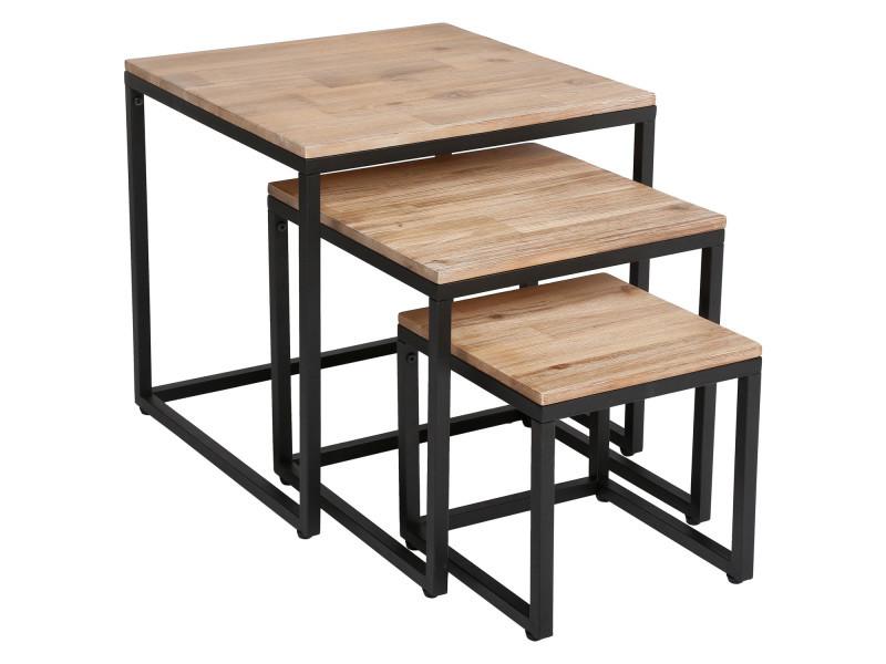 Cm 3 Tables Basses Gigognes Noir Edena 30 Beige 40 Et 50 TJ3ulcFK1