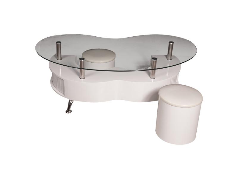 Table basse décorative moderne, plateau en verre et structure en acier, table basse avec pouf coulissant pour salon, 130x70h45 cm, couleur blanc 8052773600248