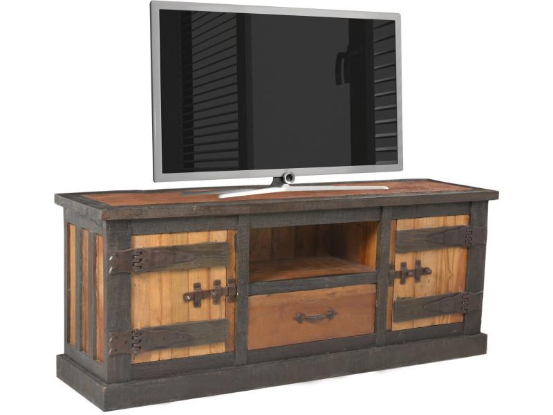 Meuble Tv Rustique En Bois Recycle 150x40 Cm Avec 2 Portes 1 Tiroir