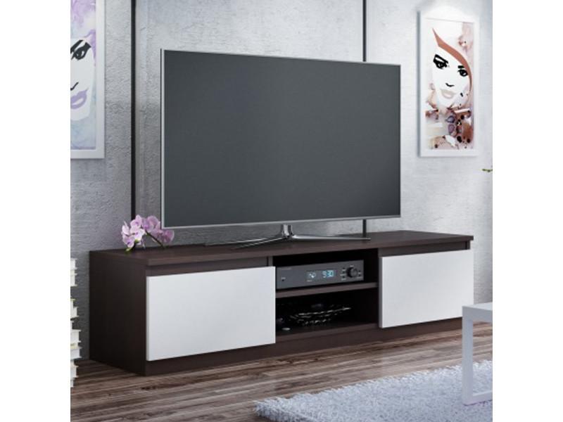 Meuble tv / banc tv - clino - 140 cm - effet wengé / blanc - style contemporain