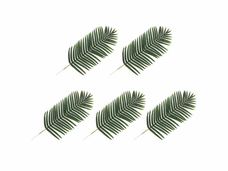 Lot de 5 feuilles artificielles de palmier vert 125 cm plastique dec021956