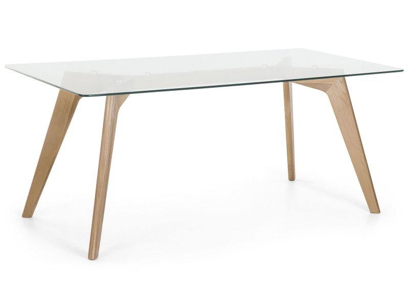 Table de salle manger table en verre 180x90 cm - Conforama table de salle a manger en verre ...