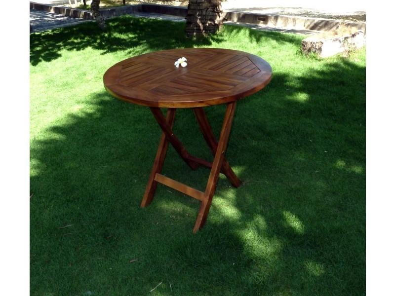 Table pliante de jardin 70 cm de diamètre teck huilé - Vente de ...