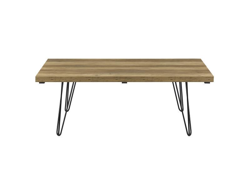 en.CASA Table Basse Moderne Plateau MDF Pieds de Table en /Épingle /à Cheveux Bois 110cm x 65cm x 35cm