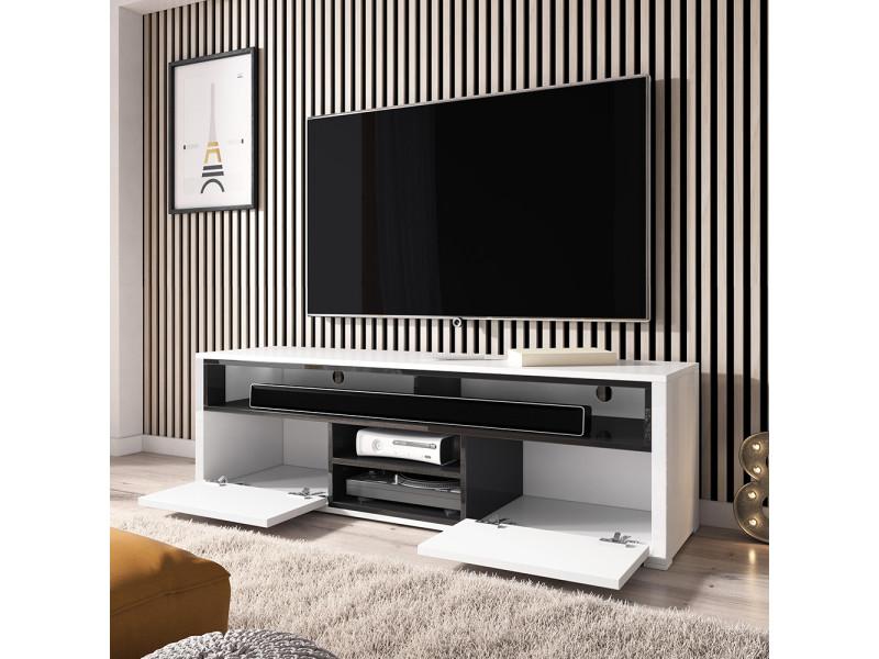 Meuble Tv Meuble De Salon Mario 137 Cm Blanc Noir