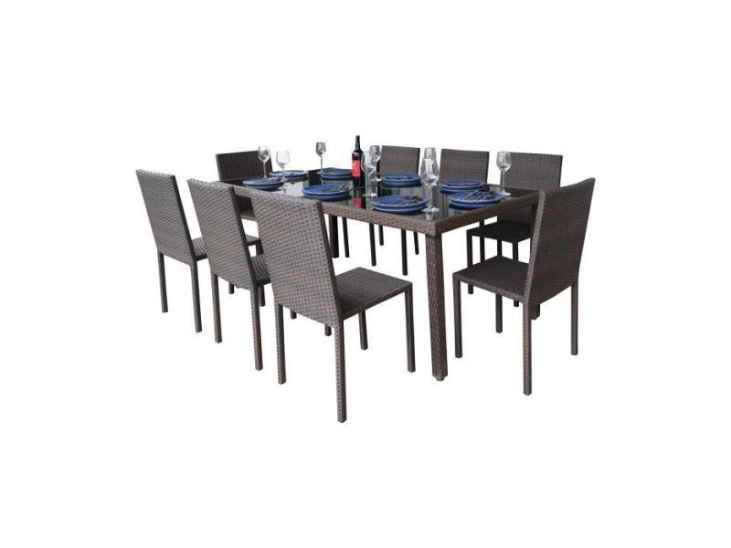 Salon de jardin - ensemble table chaise fauteuil de jardin ensemble table en verre trempé et 8 chaises cancun en résine tressée - 200 x 100 x 73 cm - marron