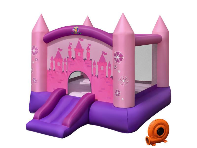 Giantex aire de jeux pour 2 enfant 3-10 ans avec souffleur 330w toboggan sac portable tissu oxford forme châteaux intérieur/extérieur