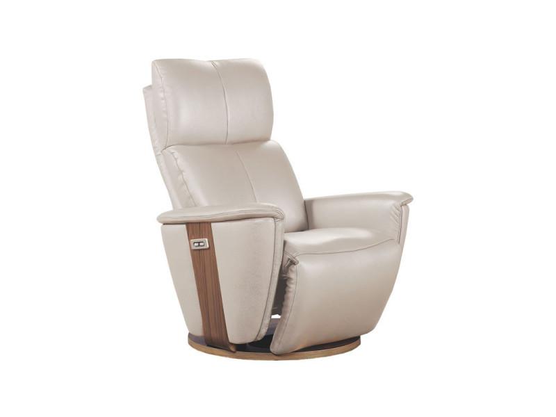 Fauteuil de relaxation électrique cuir mastic - dexter - l 85 x l 90 x h 110 - neuf