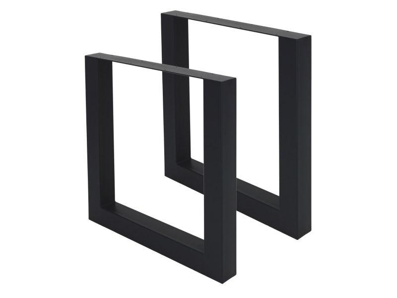 Ml-design jeu de 2 pieds de table noirs, 70x72,5 cm, en acier thermolaqué 490001064
