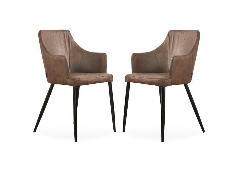 Lot de 2 chaises zarah en simili cuir marron - rembourrée