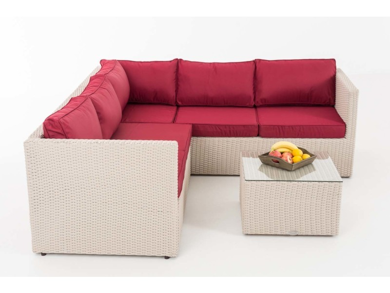 Moderne ensemble salon de jardin canapé d\'angle victoria 5mm ...