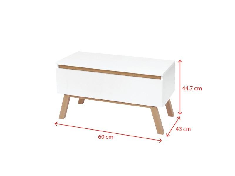 Meuble rtv thor - 45 cm x 80 cm x 43 cm - blanc - style scandinave - style minimaliste