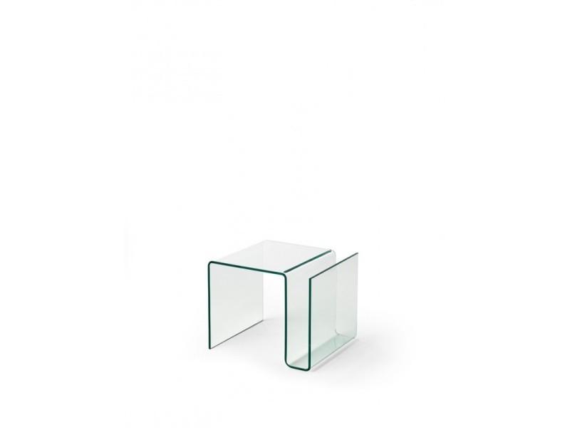 Table basse avec porte revue en verre nadege - l 61 x l 42 x h 37