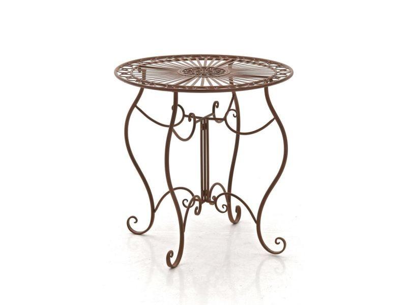 Table de jardin en fer forgé indra ø 70 cm , marron antique
