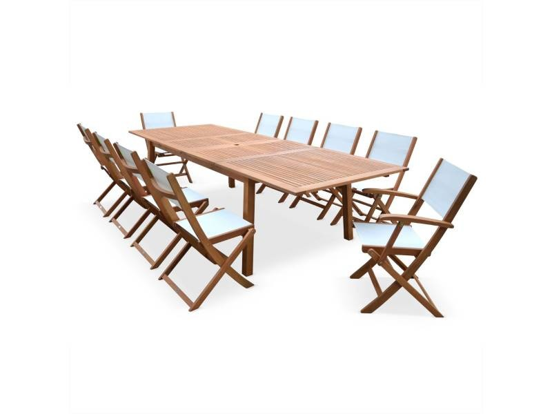 Salon de jardin en bois extensible - almeria - grande table avec 2 ...