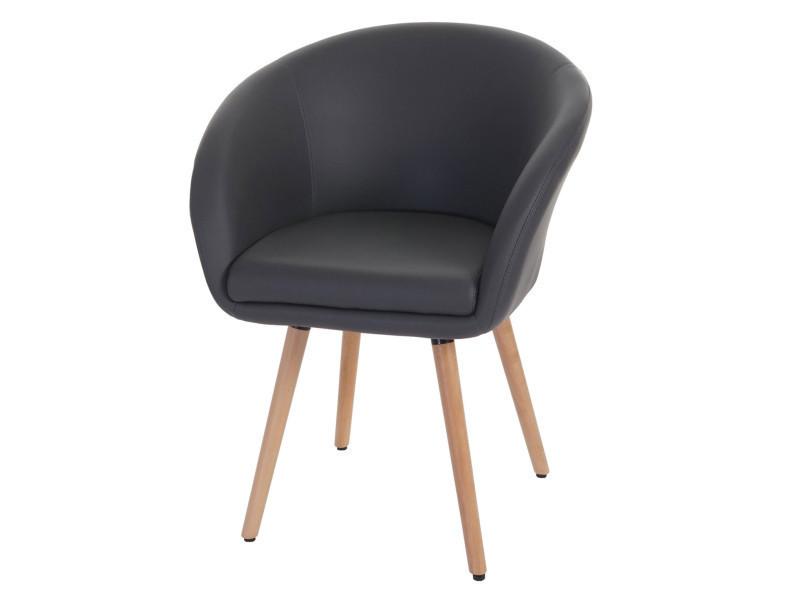 Chaise en polyuréthane coloris gris, h 80 x l 61 x p 56 cm -pegane-