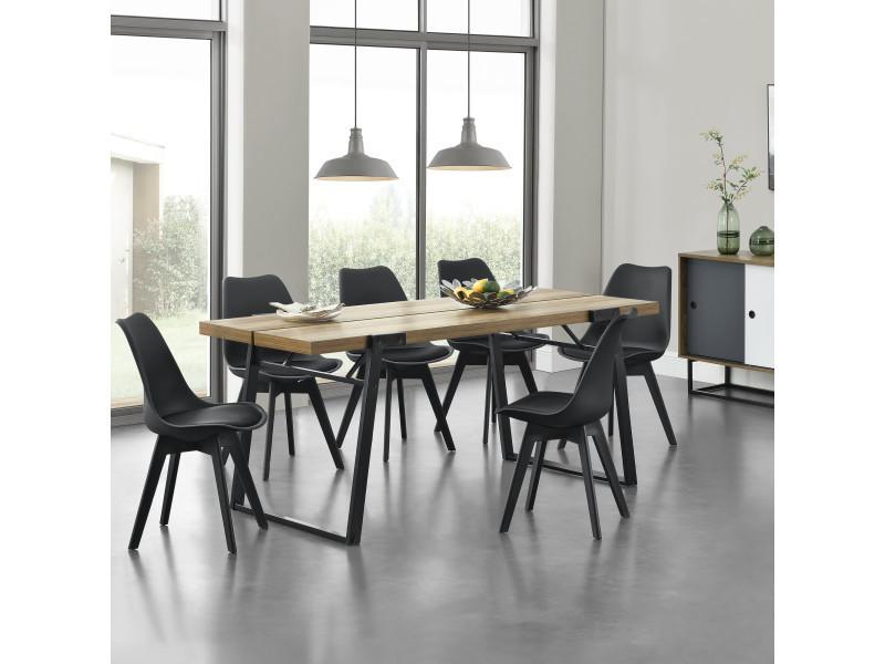 en.casa] table de salle à manger avec 6 chaises mdf et acier ...