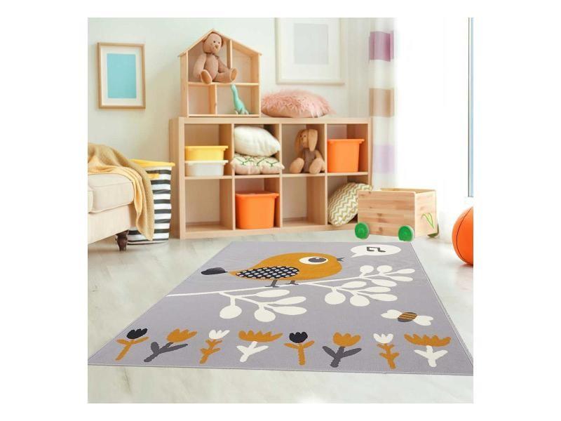 Tapis ludique pour chambre d\'enfant af piaf gris, orange, noir, blanc ...