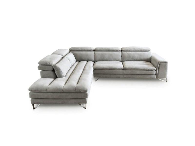 Canapé d'angle gauche fixe roma nabucka gris clair 20100878999