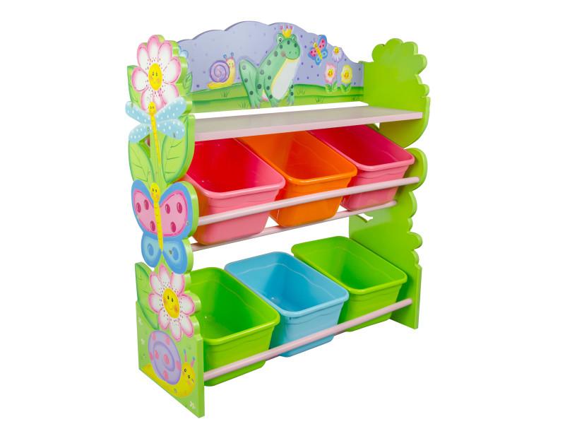 Etagère de rangement bois avec 6 bacs paniers casiers pour chambre enfant fille magic garden td-12245a