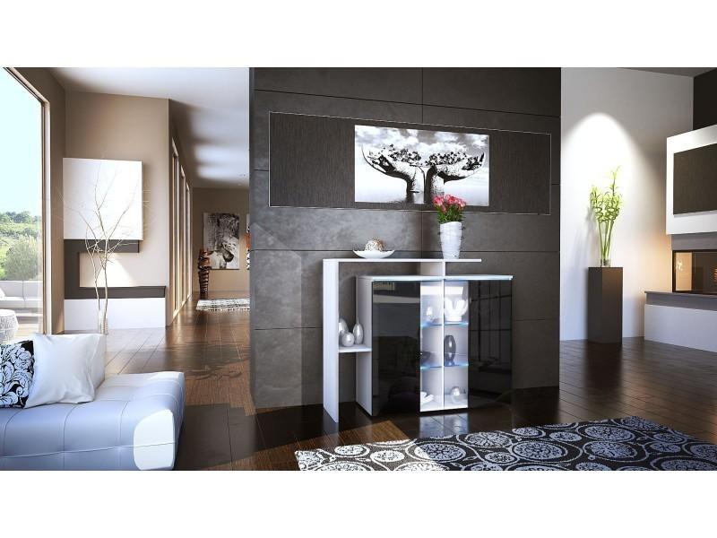 Meuble design blanc et noir avec led