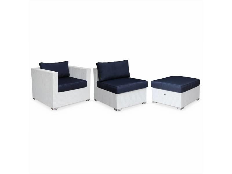 Plus adapté Salon de jardin en résine tressée xxl - tripoli - blanc, coussins FS-31