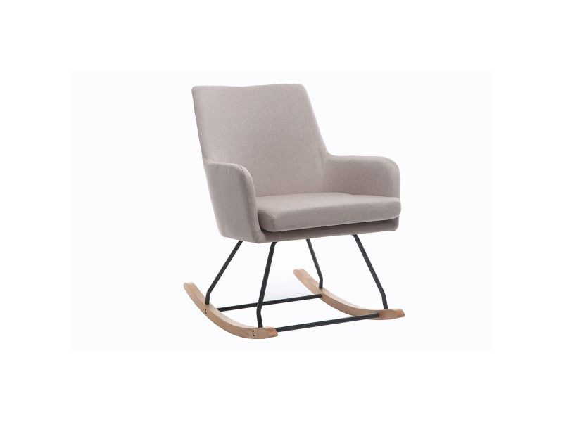 Fauteuil rocking chair design tissu naturel shana