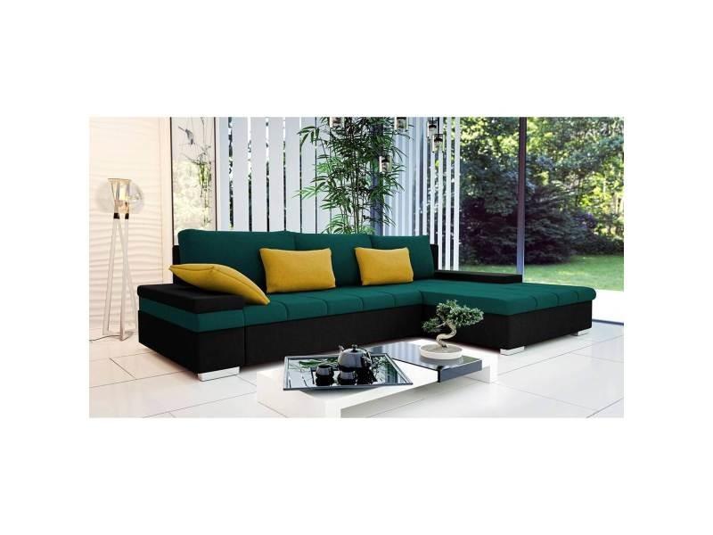 Rosy - canapé d'angle convertible vert et noir - angle droit