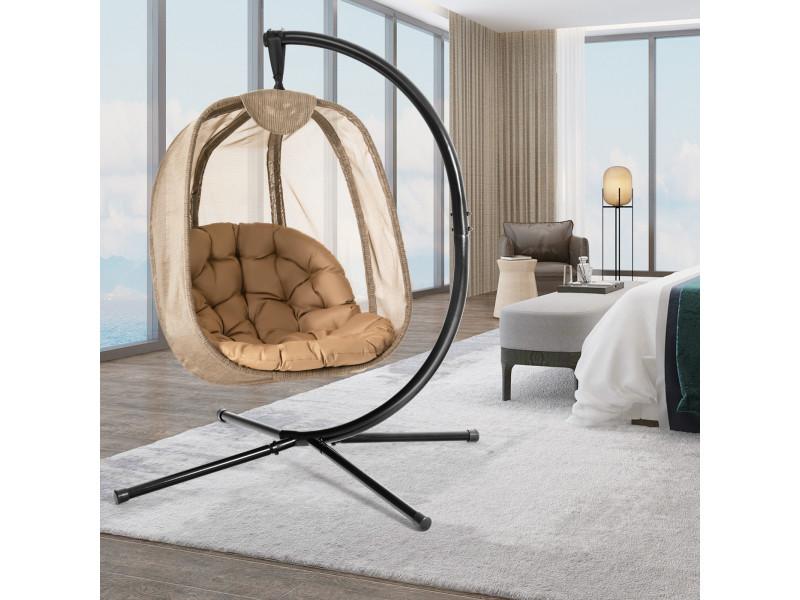 Giantex chaise suspendue avec support avec grand coussin confortable, support en acier,base en x stable charge max.: 110 kg