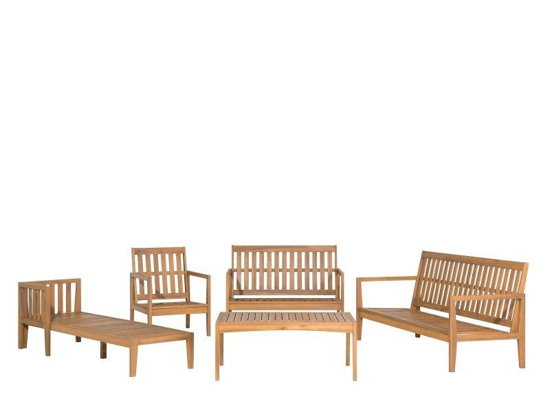 Salon de jardin 7 places en bois acacia avec coussin gris ...