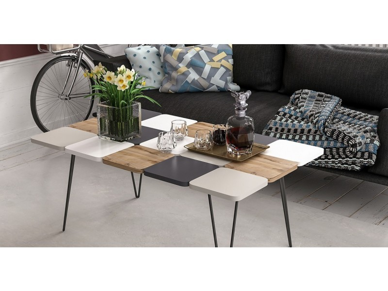Homemania table basse leaf pour salon - blanc, noyer, gris ...