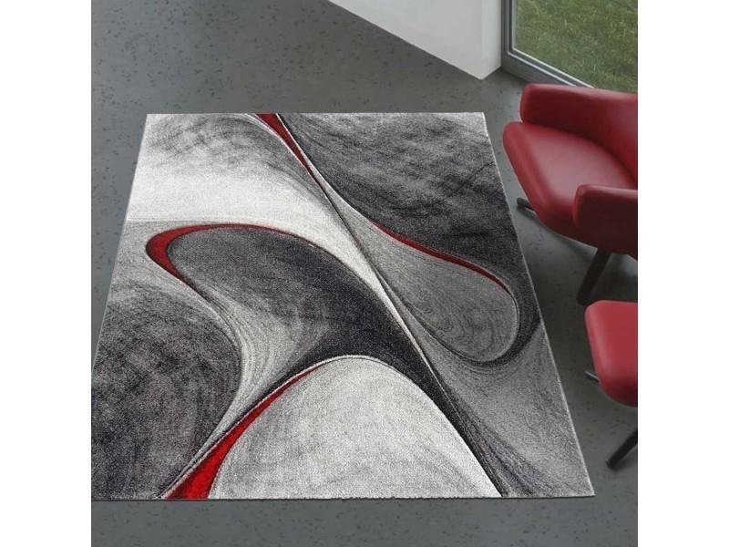 Tapis graphique et modern pour le salon milar noir, gris, rouge 80 x ...