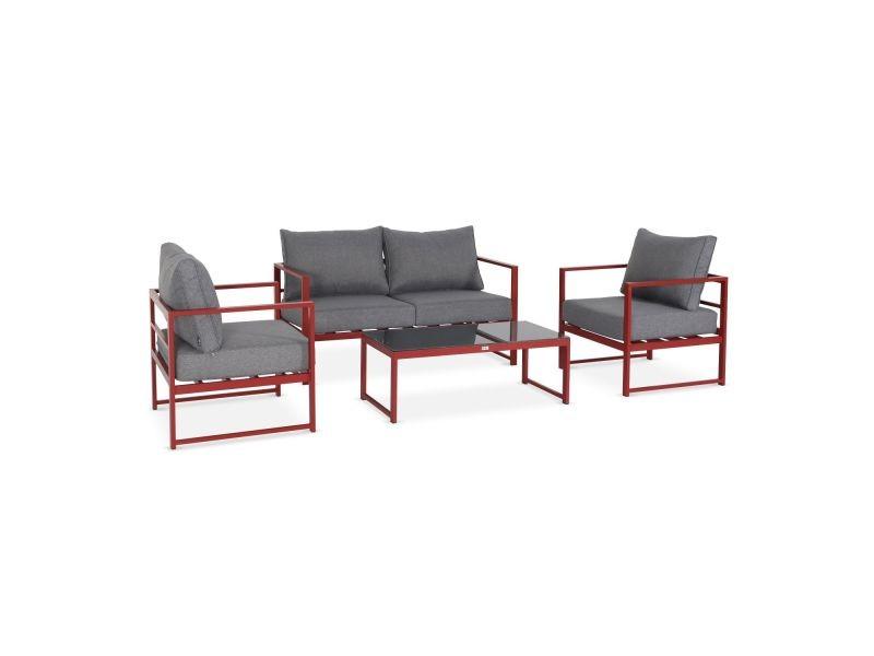 Salon de jardin 4 places - baléa rouge et gris chiné - 4 éléments en ...