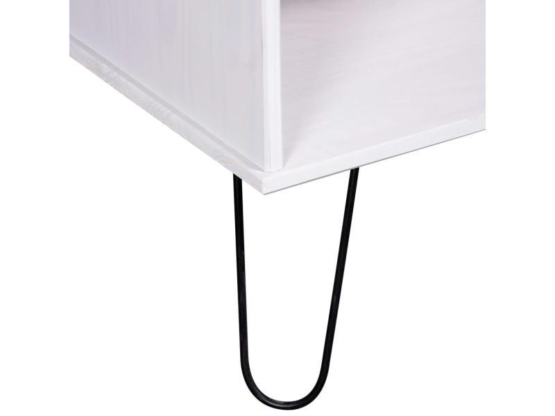 Vidaxl table basse new york range blanc bois de pin massif 321149