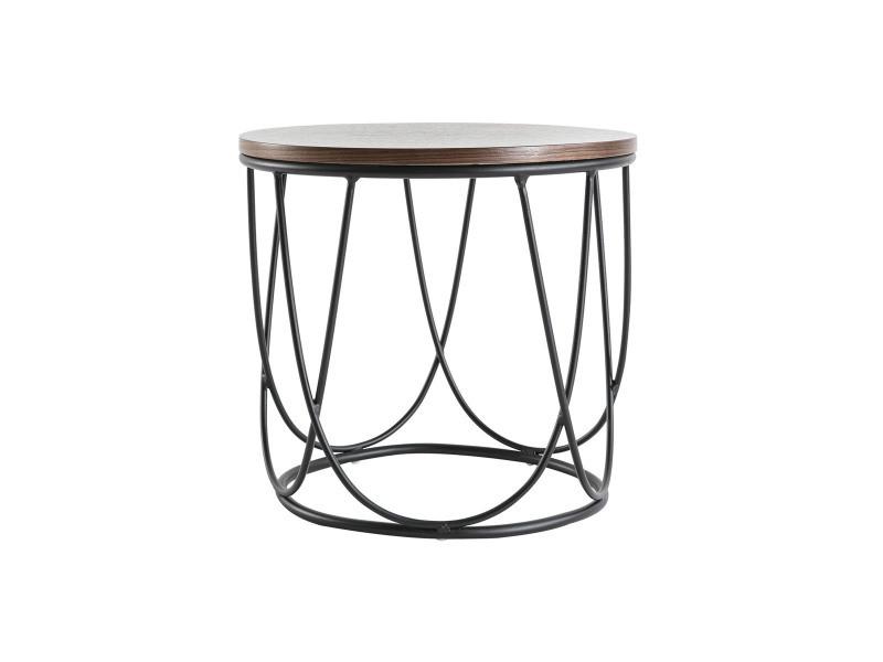 Table d'appoint bois foncé et métal 42 cm lace
