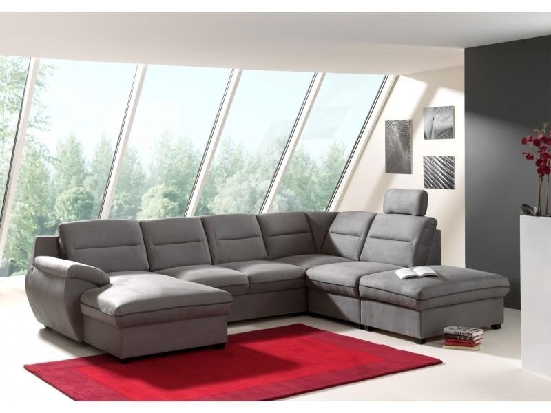 Canapé d'angle panoramique convertible tissu gris stan angle gauche-