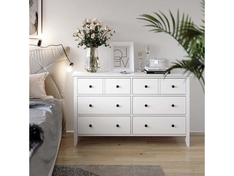 Commode à tiroirs, armoire à 5 tiroirs avec cadre en bois massif ...