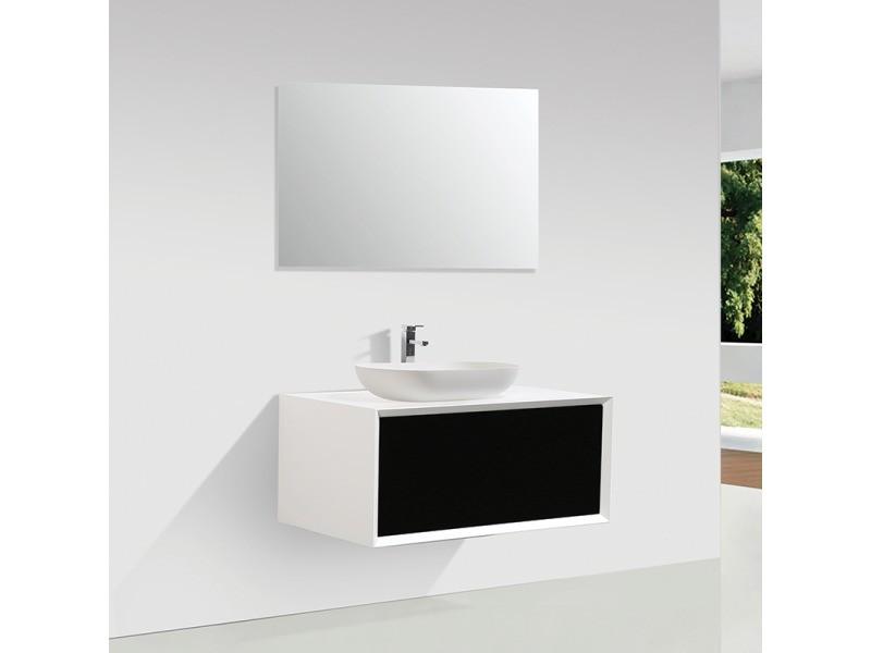 Meuble salle de bain simple vasque palio 90 cm, blanc / noir mat ...