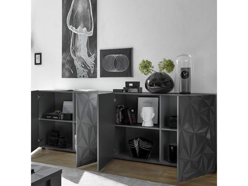 Salle à manger gris laqué design buffet 4 portes + table 180 ...